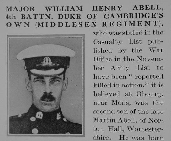 UK Photo Archive: A &emdash; Abell W H Major 4th Middlesex Regiment Obit Part 1 Bond Of Sacrifice Vol 1