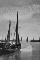 Trawlers Sailing From Lowestoft Harbour 1930s