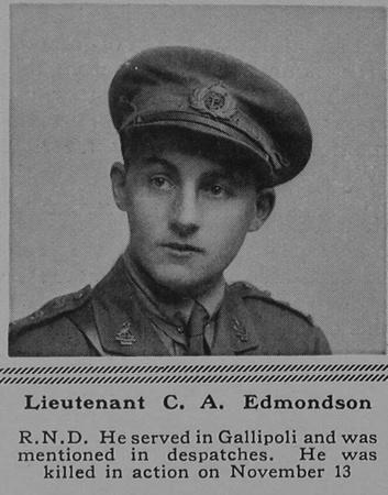 UK Photo Archive: E &emdash; Edmondson C A Lt Hood Bn. R.N. Div.Royal Naval Volunteer Reserve The Sphere 13th Jan 1917