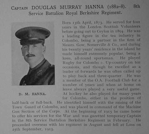 UK Photo Archive: Dulwich College War Record 1914-1919 &emdash; Hanna D M Captain 8th Royal Berkshire Regiment Obit Dulwich College Roll Of Honour
