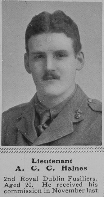 UK Photo Archive: H &emdash; Haines A C C Lt 2nd Royal Dublin Fusiliers The Sphere 12th Jun 1915