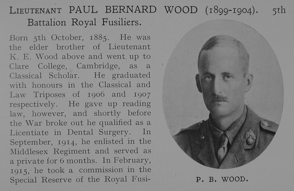 UK Photo Archive: Dulwich College War Record 1914-1919 &emdash; Wood P B Lt 5th Royal Fusiliers Obit Part 1 Dulwich College Roll Of Honour
