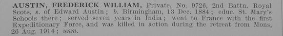 UK Photo Archive: A &emdash; Austin F W Pte 9726 2nd Royal Scots Obit