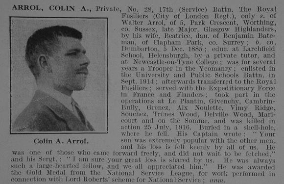 UK Photo Archive: A &emdash; Arrol C A Pte 17th Royal Fusiliers Obit De Ruvignys Roll Of Honour Vol 3