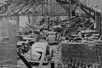 A Gutted Car Storage Depot After The Blitz In Liverpool