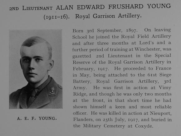 UK Photo Archive: Dulwich College War Record 1914-1919 &emdash; Young A E F 2nd Lt Royal Garrison Artillery Obit