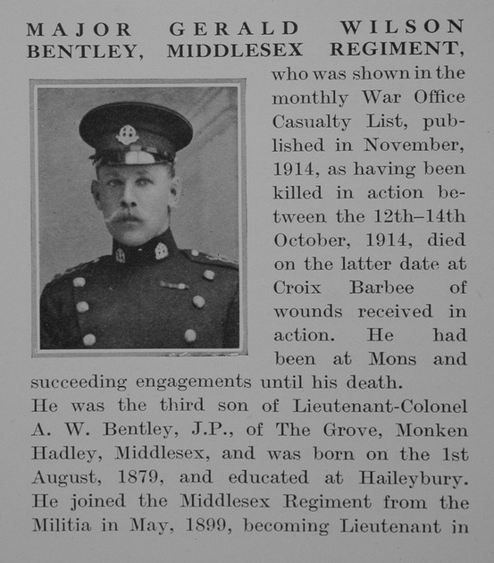 UK Photo Archive: B &emdash; Bentley G W Major Middlesex Regiment Obit Part 1 The Bond Of Sacrifice Vol 1