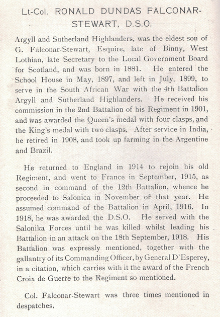 UK Photo Archive: The War Record Of Old Dunelmians 1914-1919 &emdash; Falconar-Stewart R D Lt Col DSO 12th Argyll and Sutherland Highlanders Obit The War Record Of Old Dunelmians 1914-1919