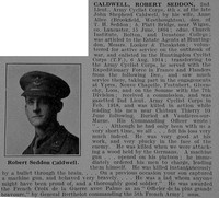 Caldwell R S 2nd Lt Army Cyclist Corps Obit De Ruvignys Roll Of Honour Vol 5