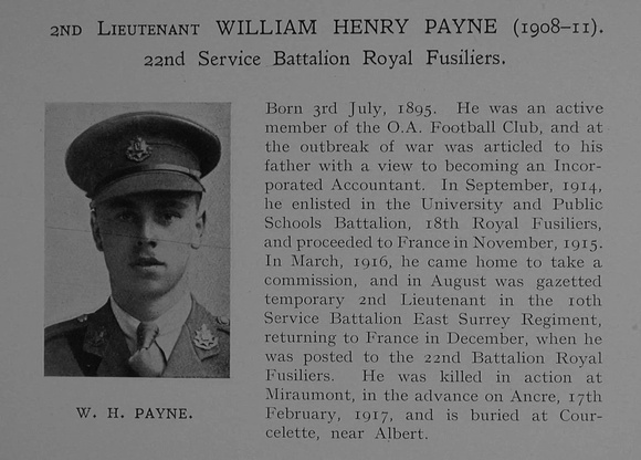 UK Photo Archive: Dulwich College War Record 1914-1919 &emdash; Payne W H 2nd Lt 22nd Royal Fusiliers Obit Dulwich College Roll Of Honour