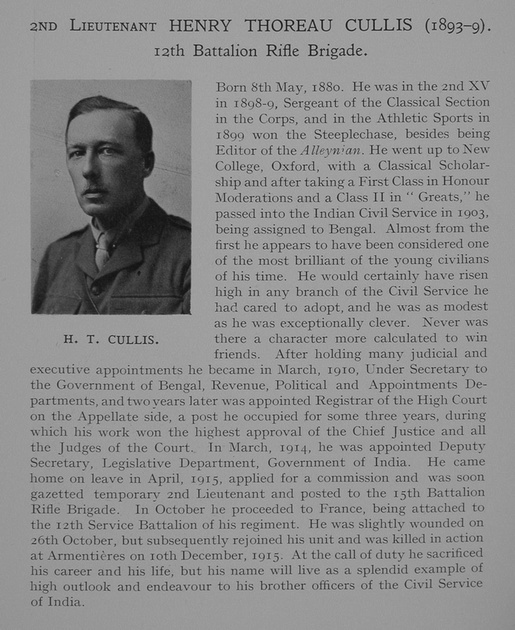 UK Photo Archive: Dulwich College War Record 1914-1919 &emdash; Cullis H T 2nd Lt 12th Rifle Brigade Obit Dulwich College Roll Of Honour