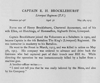 Brocklehurst E H Captain Kings Liverpool Regiment Obit
