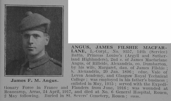 UK Photo Archive: A &emdash; Angus J F M LCpl 14th A&S Highlanders Obit De Ruvignys Roll Of Honour Vol 3