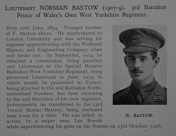UK Photo Archive: Dulwich College War Record 1914-1919 &emdash; Bastow N Lt 3rd West Yorkshire Regiment Obit Dulwich College Roll Of Honour