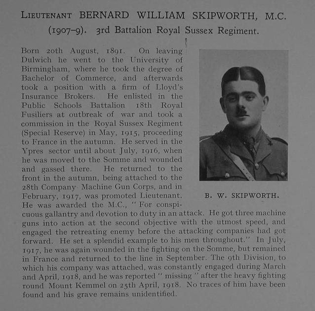 UK Photo Archive: Dulwich College War Record 1914-1919 &emdash; Skipworth B W Lt MC 3rd Royal Sussex Regiment Obit Dulwich College Roll Of Honour