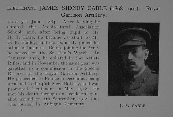 UK Photo Archive: Dulwich College War Record 1914-1919 &emdash; Cable J S Lt Royal Garrison Artillery Obit Dulwich College Roll Of Honour