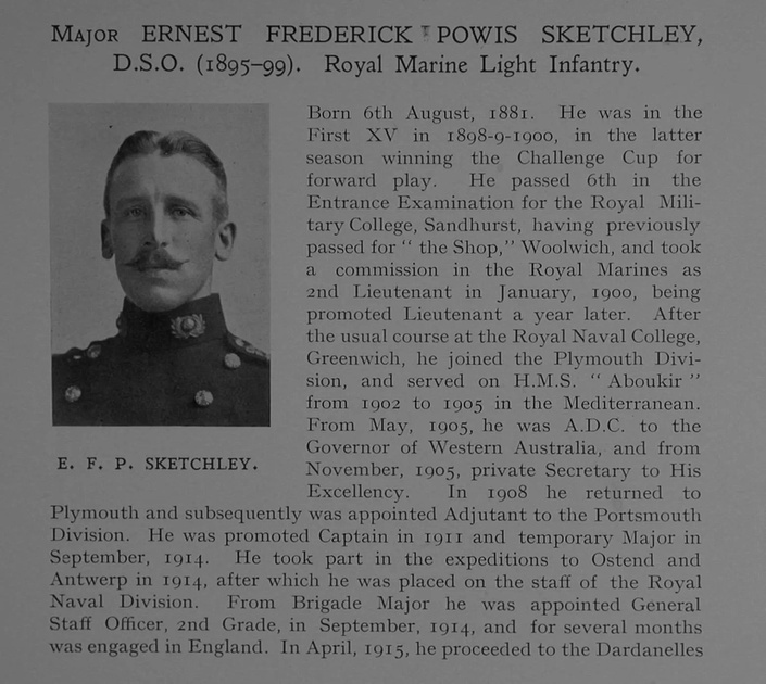 UK Photo Archive: Dulwich College War Record 1914-1919 &emdash; Sketchley E F P Major DSO Royal Marine Light Infantry Obit Dulwich College Roll Of Honour