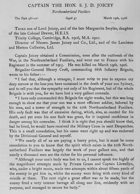 UK Photo Archive: Harrow Memorials Of The Great War Vol 3 1914-1918 Obituaries &emdash; Joicey S J D Captain Northumberland Fusiliers Obit Harrow Roll Of Honour Vol 3