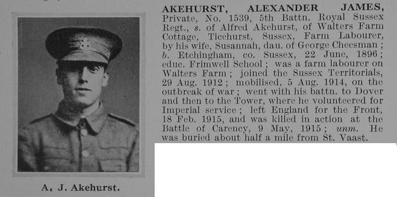 UK Photo Archive: A &emdash; Akehurst A J Pte 1539 5th Royal Sussex Regiment Obit