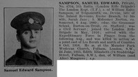 Sampson S E Pte 4704 5th London Regiment (London Rifle Brigade) Obit De Ruvignys Roll Of Honour Vol 3