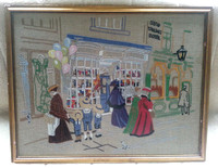 Vintage Framed Embroidered Picture/Panel Victorian Toy Shop And Hotel