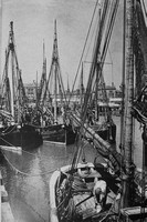 Trawlers In Lowestoft  Harbour 1930s