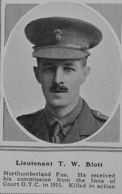 UK Photo Archive: B &emdash; Blott T W Lt 24th Northumberland Fusiliers The Sphere 30th June 1917