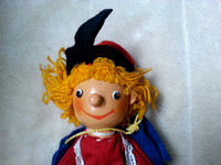 Vintage Wooden Glove Puppet With Wooden Head And Fabric Body
