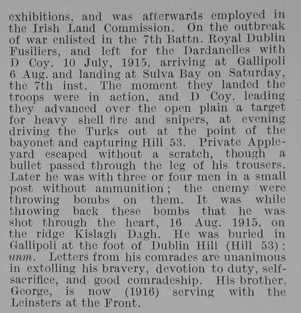 UK Photo Archive: A &emdash; Appleyard W D Pte 14789 7th Royal Dublin Fusiliers Obit Part 2