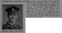 Thompson R A Pte 163 13th Cheshire Regiment Obit De Ruvignys Roll Of Honour Vol 5