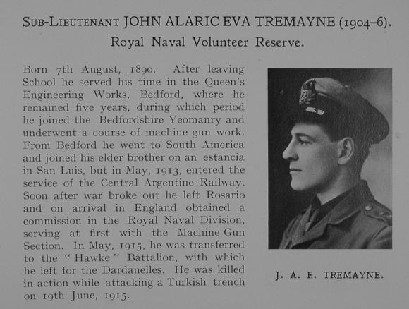 UK Photo Archive: Dulwich College War Record 1914-1919 &emdash; Tremayne J A E Sub Lt Royal Naval Volunteer Reserve Obit Dulwich College Roll Of Honour