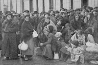Belgian Refugees Waiting At The Quayside In Ostend 1914