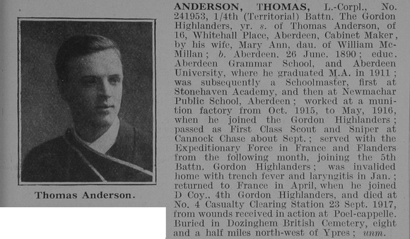 UK Photo Archive: A &emdash; Anderson T LCpl 4th Gordon Highlanders Obit De Ruvignys Roll Of Honour Vol 3