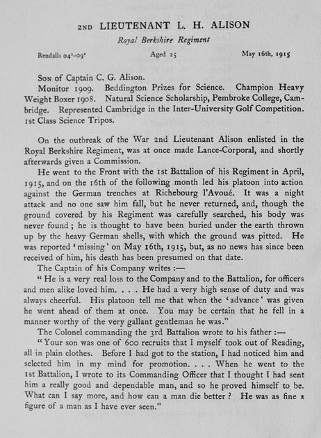 UK Photo Archive: Harrow Memorials Of The Great War Vol 2 1914-1918 Obituaries &emdash; Alison L H 2nd Lt Royal Berkshire Regiment Obit
