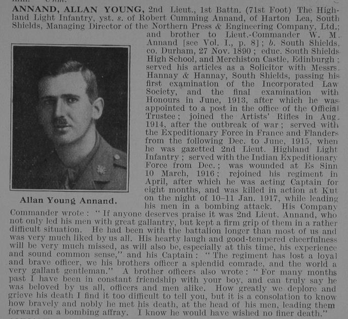 UK Photo Archive: A &emdash; Annand A Y 2nd Lt 1st HLI Obit De Ruvignys Roll Of Honour Vol 3