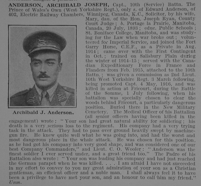 UK Photo Archive: A &emdash; Anderson A J Captain 10th West Yorks Regt Obit De Ruvignys Roll Of Honour Vol 3