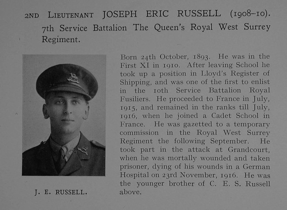 UK Photo Archive: Dulwich College War Record 1914-1919 &emdash; Russell J E 2nd Lt 7th The Queen's (Royal West Surrey Regiment) Obit Dulwich College Roll Of Honour