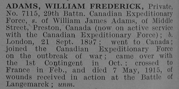 UK Photo Archive: A &emdash; Adams W F Pte 7115 1st Canadian Infantry (Western Ontario Regiment) Short Obit De Ruvignys Roll Of Honour Vol 1
