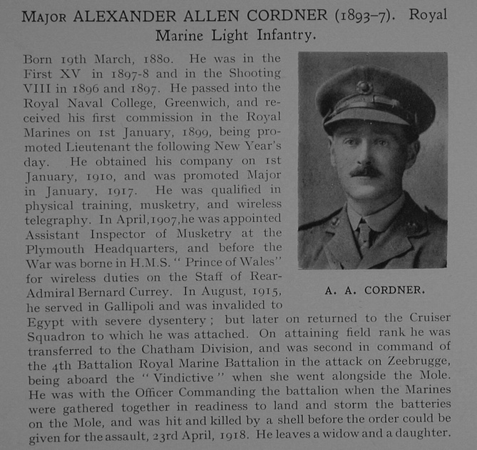 UK Photo Archive: Dulwich College War Record 1914-1919 &emdash; Cordner A A Major Royal Marine Light Infantry Obit Dulwich College Roll Of Honour