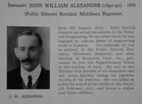 Alexandre J W Sergt 16th Middlesex Regiment Obit Dulwich College Roll Of Honour