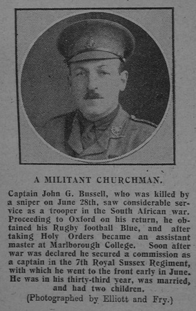 UK Photo Archive: The Graphic B &emdash; Bussell J G Captain 7th Royal Sussex Regiment The Graphic 7th July 1915