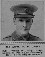 Owens W B 2nd Lt Royal Engineers The Sphere 19th Aug 1916