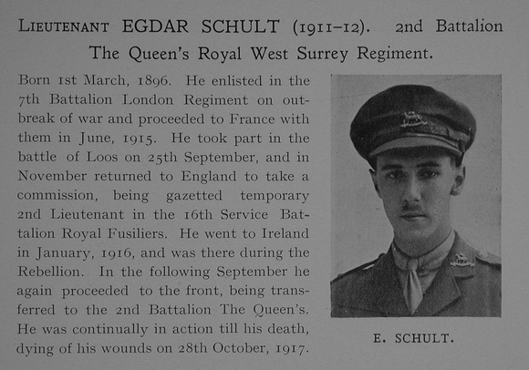UK Photo Archive: Dulwich College War Record 1914-1919 &emdash; Schult E Lt 2nd Queens Royal West Surrey Regiment Obit Dulwich College Roll Of Honour