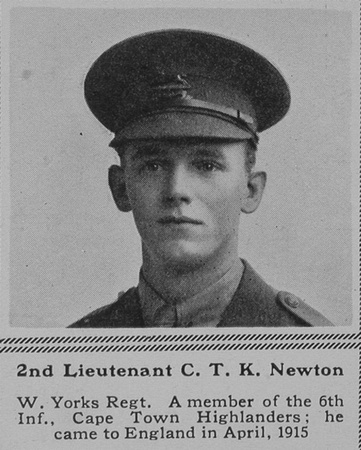 UK Photo Archive: N &emdash; Newton C T K 2nd Lt 1st West Yorkshire Regiment (Prince of Wales's Own) The Sphere 12th Aug 1916