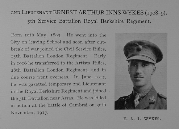UK Photo Archive: Dulwich College War Record 1914-1919 &emdash; Wykes E A I 2nd Lt 5th Royal Berkshire Regiment Obit