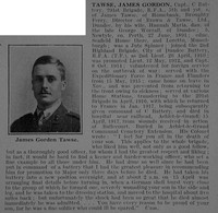 Tawse J G Captain Royal Field Artillery Obit De Ruvignys Roll Of Honour Vol 3