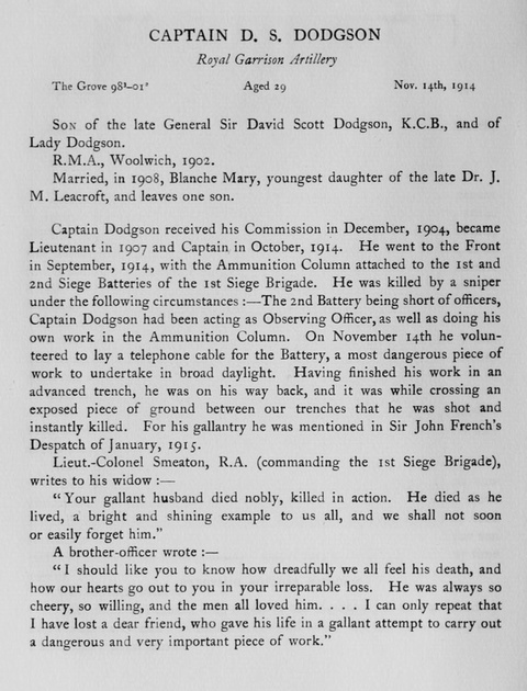 UK Photo Archive: Harrow Memorials Of The Great War Vol 1 1914-1918 Obituaries &emdash; Dodgson D S Captain Royal Garrison Artillery Obit