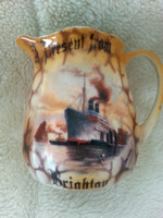 Vintage Souvenir Ware Jug Present From Brighton Decorated With Picture Of Ship