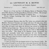 Browne M B 2nd Lt Notts Derby Regiment Obit Harrow Roll Of Honour Vol 3