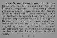 Murray H LCpl Royal Irish Rifles Short Record Of Service Our Heroes Mons To The Somme Aug 1914-July 1916